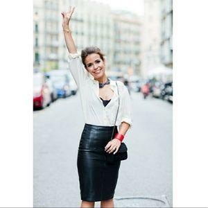 Vintage Black Leather Pencil Skirt Size XS